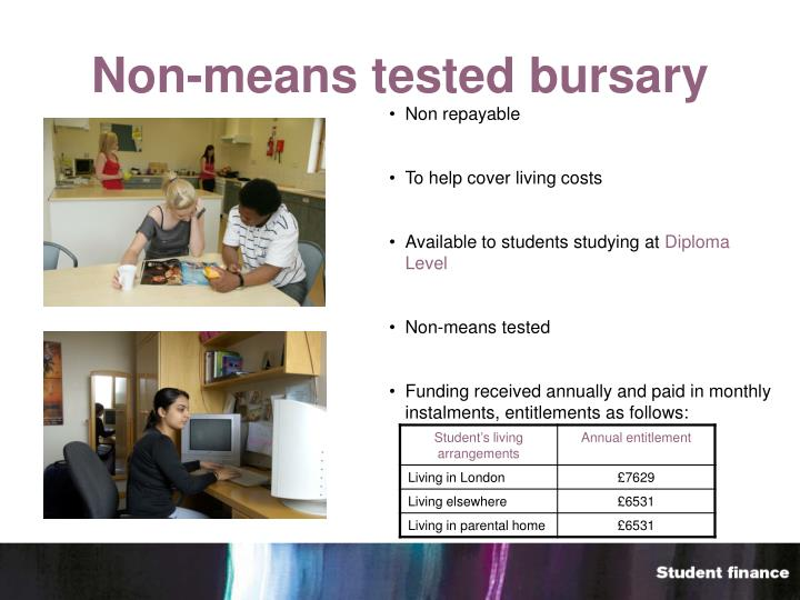 Non-means tested bursary