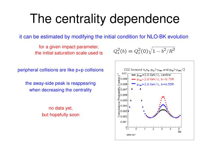 The centrality dependence