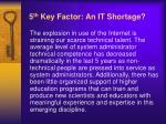 5 th key factor an it shortage