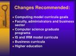 changes recommended