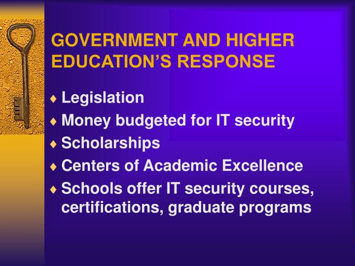 GOVERNMENT AND HIGHER EDUCATION'S RESPONSE