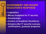 government and higher education s response