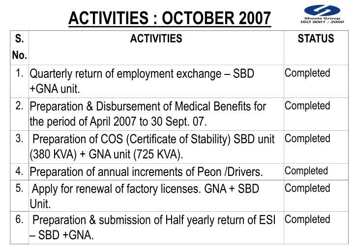 ACTIVITIES : OCTOBER 2007