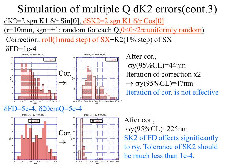 Simulation of multiple q dk2 errors cont 3