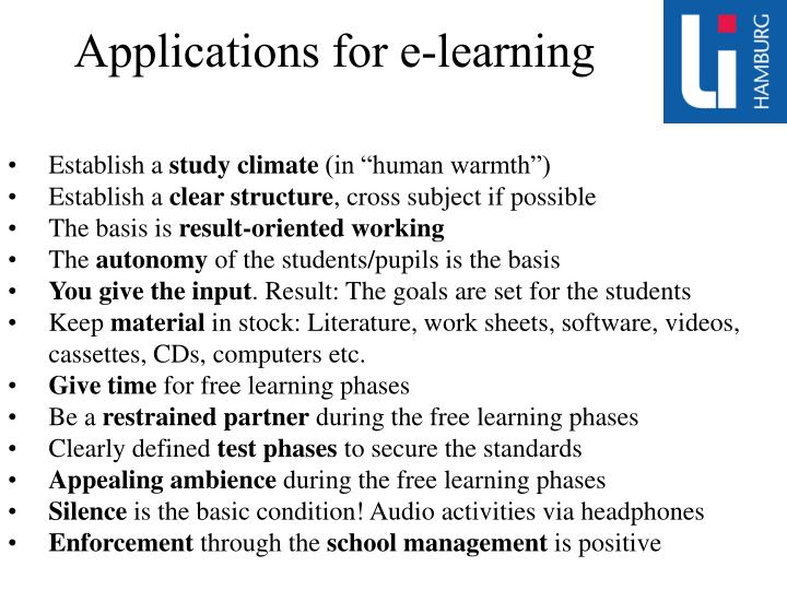 Applications for e-learning