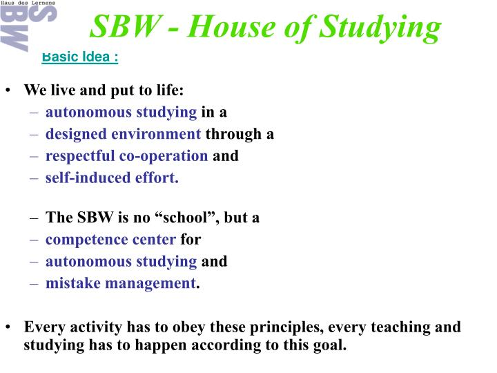 SBW - House of Studying