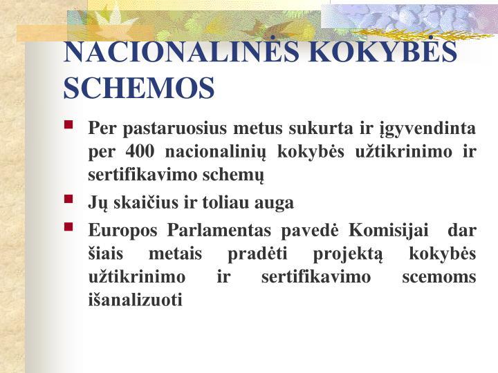 NACIONALINĖS KOKYBĖS SCHEMOS
