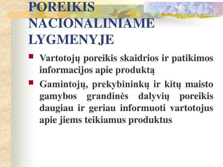 POREIKIS NACIONALINIAME LYGMENYJE