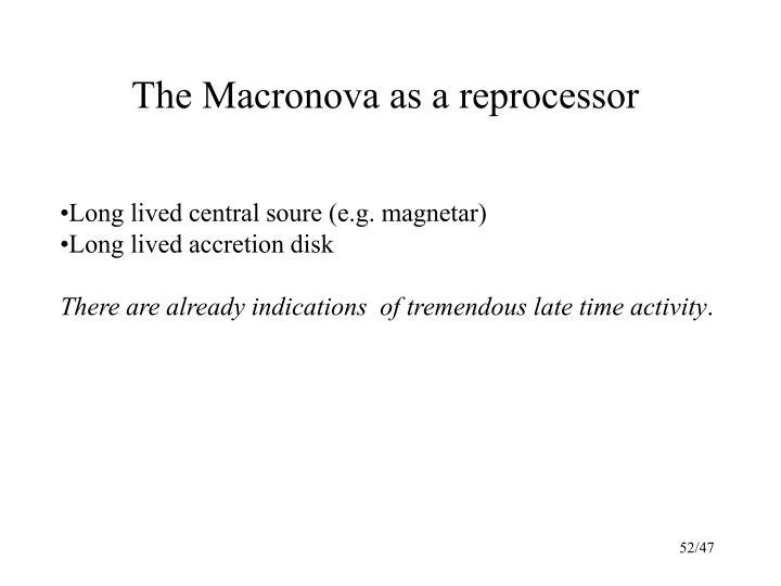The Macronova as a reprocessor