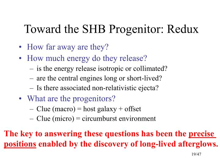Toward the SHB Progenitor: Redux