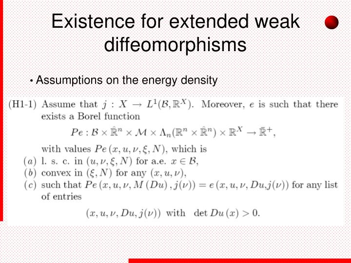 Existence for extended weak diffeomorphisms