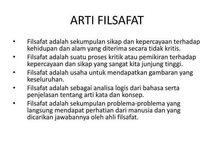 ARTI FILSAFAT