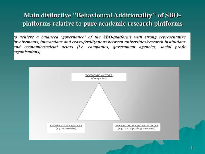 "Main distinctive ""Behavioural Additionality"" of SBO-platforms relative to pure academic research platforms"