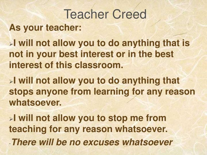 Teacher Creed