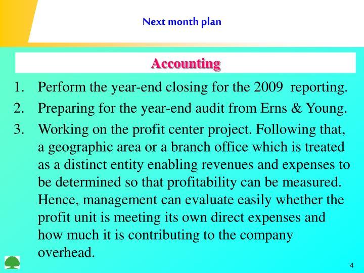 Next month plan