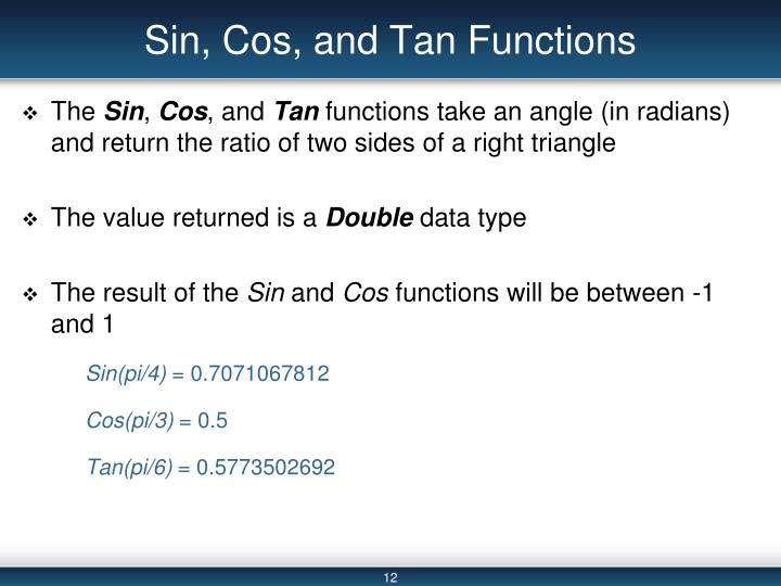 Sin, Cos, and Tan Functions