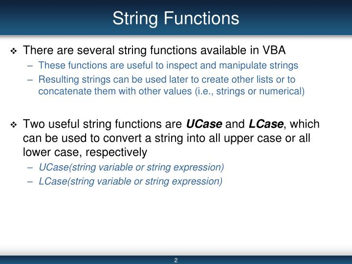 String Functions
