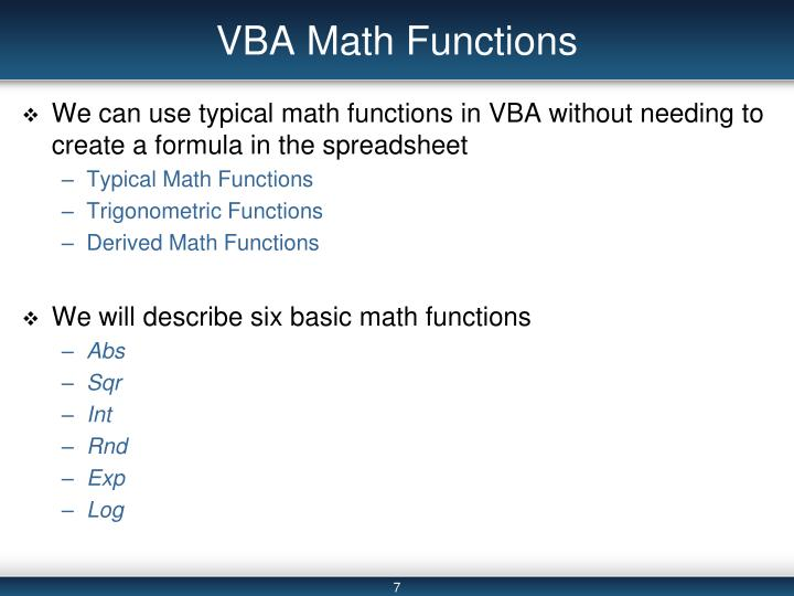 VBA Math Functions