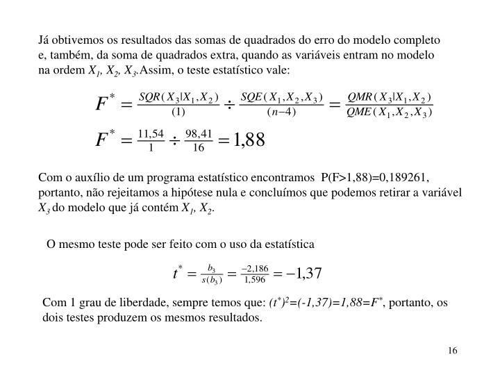Já obtivemos os resultados das somas de quadrados do erro do modelo completo e, também, da soma de quadrados extra, quando as variáveis entram no modelo na ordem