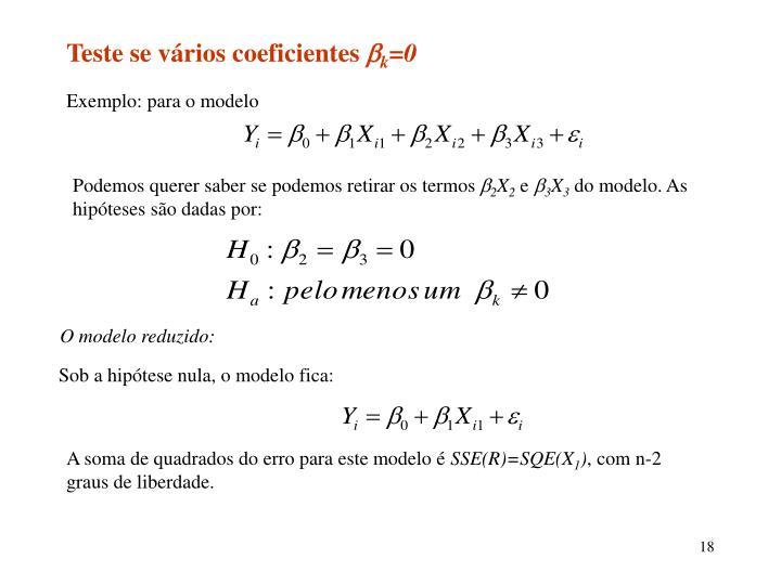 Teste se vários coeficientes