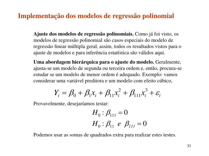 Implementação dos modelos de regressão polinomial