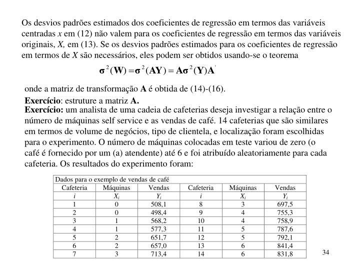 Os desvios padrões estimados dos coeficientes de regressão em termos das variáveis centradas