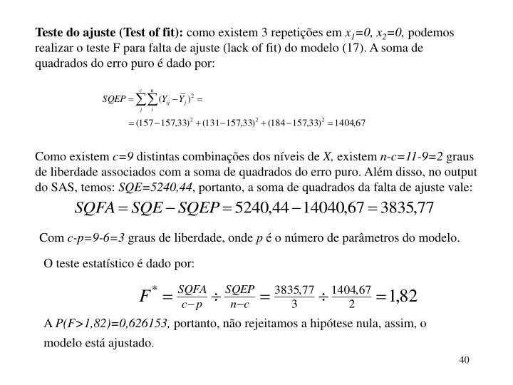 Teste do ajuste (Test of fit):