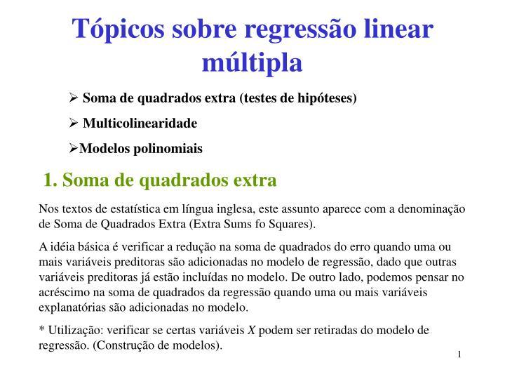 Tópicos sobre regressão linear múltipla
