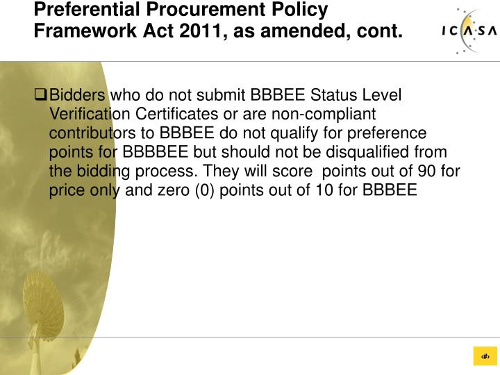 Preferential Procurement Policy Framework Act 2011, as amended, cont.