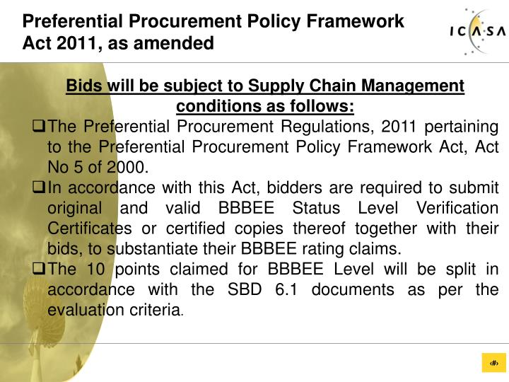 Preferential Procurement Policy Framework Act 2011, as amended