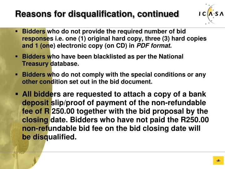 Reasons for disqualification, continued