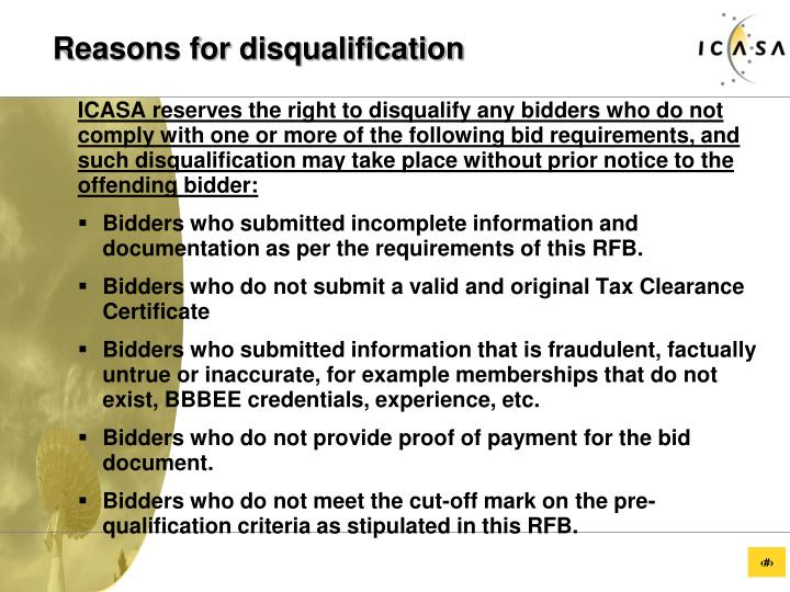 Reasons for disqualification