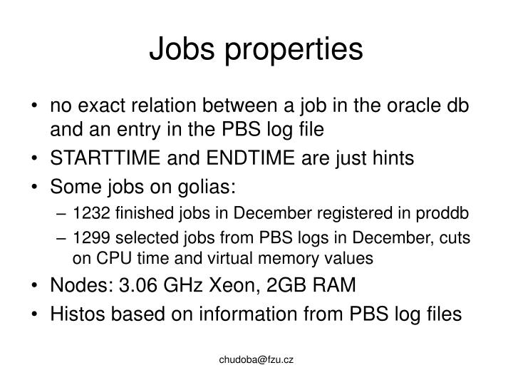 Jobs properties