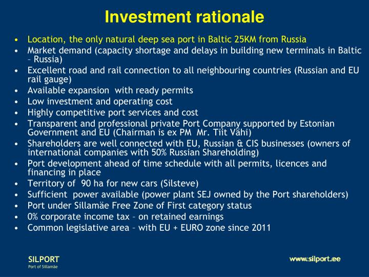 Investment rationale