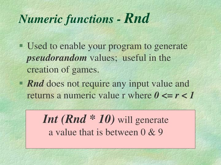Numeric functions -