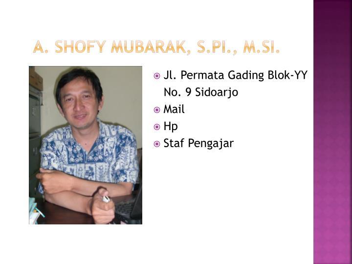 A. Shofy Mubarak, S.Pi., M.Si.