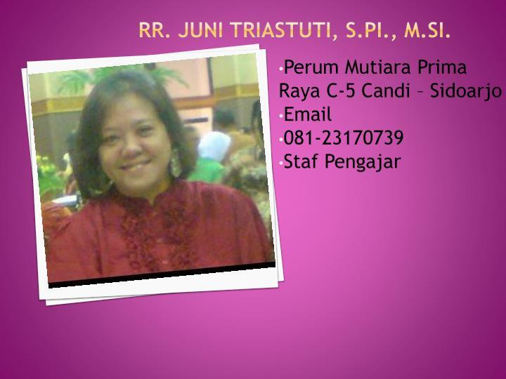 Rr. Juni Triastuti, S.PI., M.Si.
