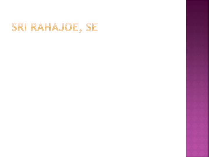 SRI RAHAJOE, SE