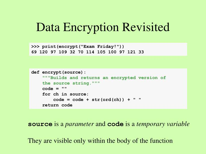 Data Encryption Revisited