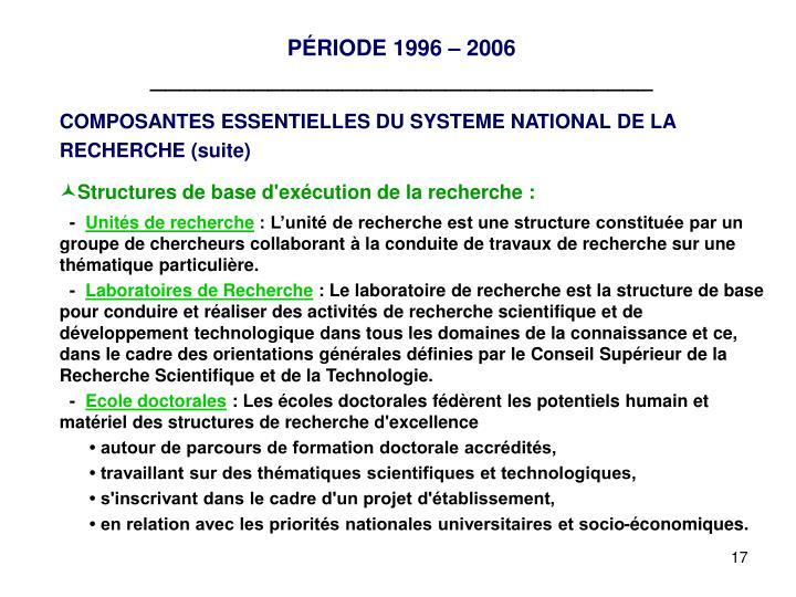 PÉRIODE 1996 – 2006