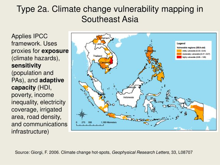 Type 2a. Climate change vulnerability mapping in Southeast Asia