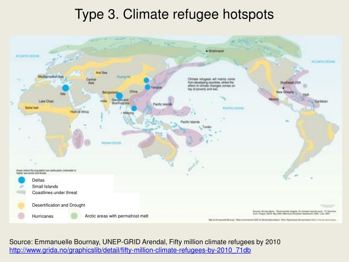 Type 3. Climate refugee hotspots