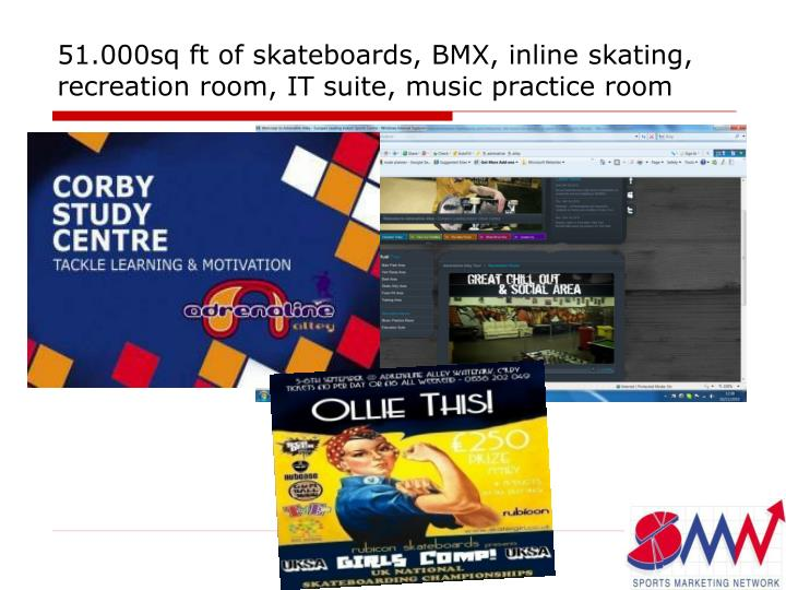 51.000sq ft of skateboards, BMX, inline skating, recreation room, IT suite, music practice room