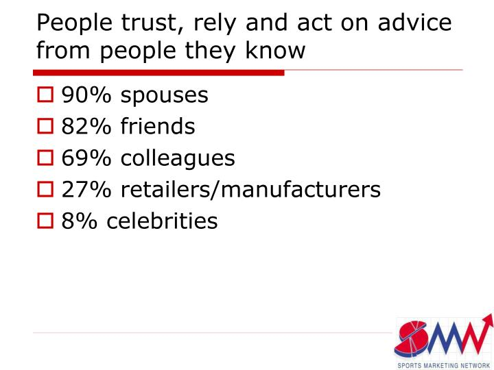 People trust, rely and act on advice from people they know