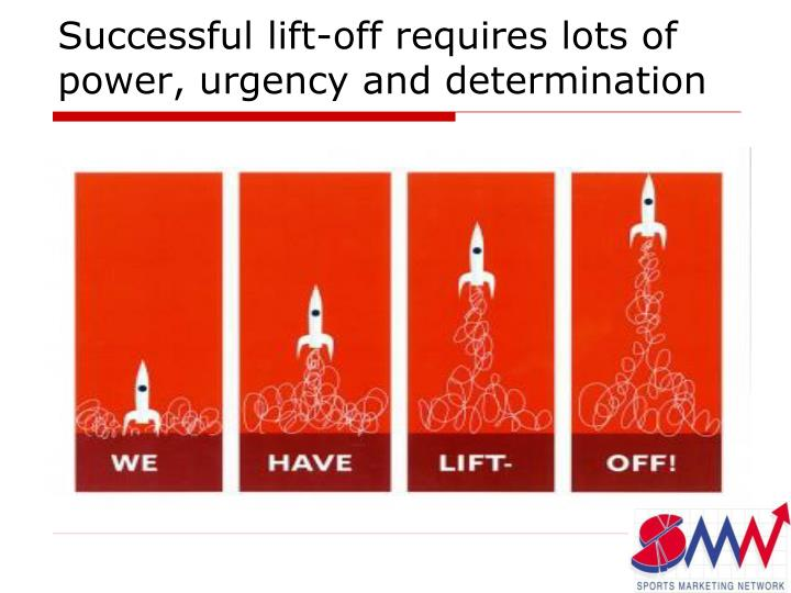 Successful lift-off requires lots of power, urgency and determination