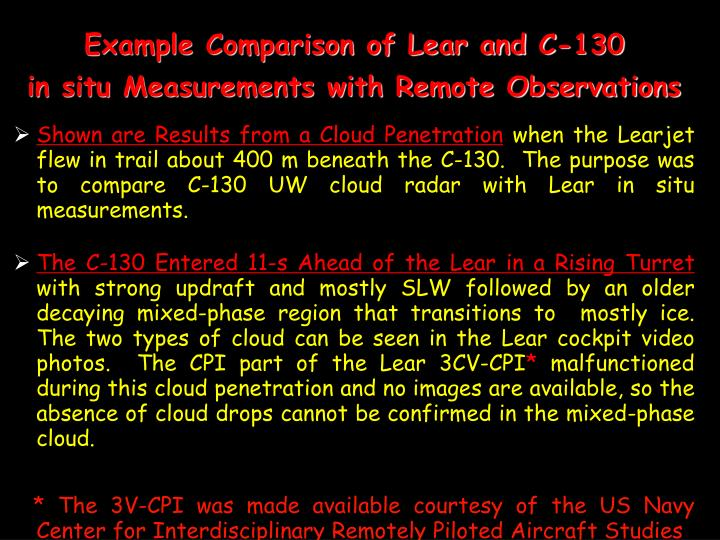 Example Comparison of Lear and C-130
