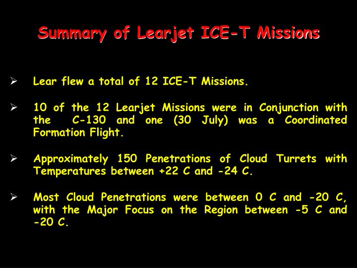 Summary of Learjet ICE-T Missions
