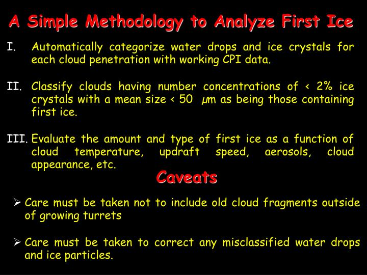 A Simple Methodology to Analyze First Ice