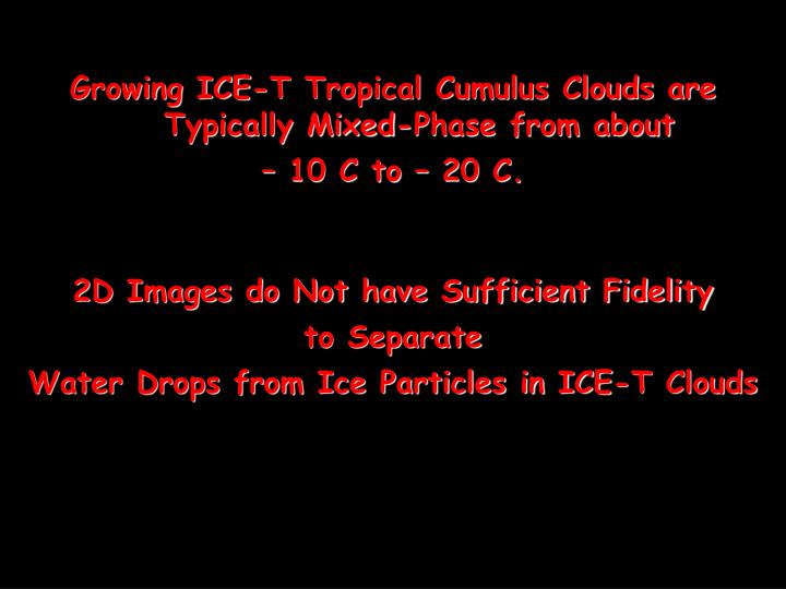 Growing ICE-T Tropical Cumulus Clouds are Typically Mixed-Phase from about
