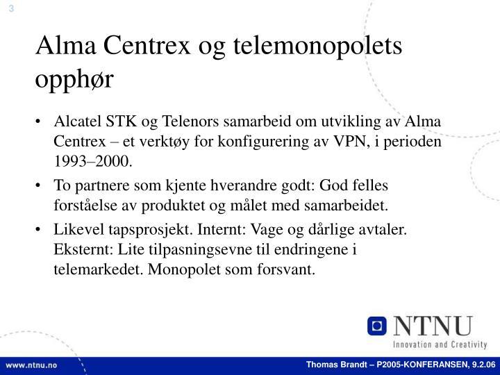 Alma Centrex og telemonopolets opphør